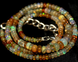 35 Crts Natural Ethiopian Welo Fire Opal Beads Necklace 52
