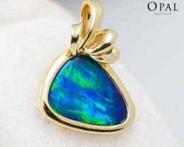 Handmade 14K Yellow Gold Doublet Opal Pendant OPJ130