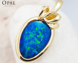 Handmade 14K Yellow Gold Doublet Opal Pendant OPJ131