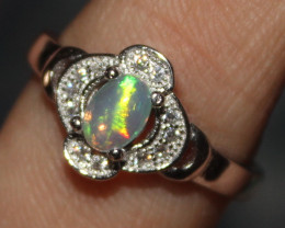 Natural Ethiopian Welo Fire Opal 925 Silver Ring Size (7.5 US ) 81