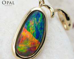 Handmade 14K Yellow Gold Doublet Opal Pendant OPJ133