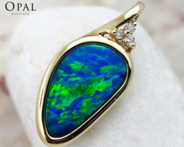Handmade 14K Yellow Gold Doublet Opal & Diamond Pendant OPJ136