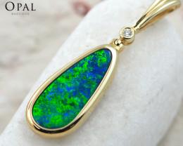 Handmade 14K Yellow Gold Doublet Opal & Diamond Pendant OPJ138
