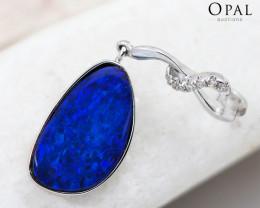Handmade 14K White Gold Doublet Opal & Diamond Pendant OPJ141