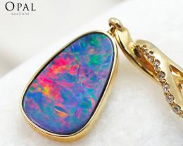 Handmade 14K Yellow Gold Doublet Opal & Diamond Pendant OPJ143