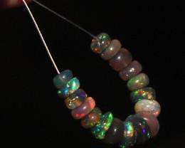 6.5 Crts Natural Ethiopian Welo Smoked Opal Beads Demi Strand 74