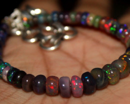 36 Crt Natural Ethiopian Welo Fire Smoked Opal Beads Bracelet 376