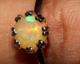 Natural Ethiopian Welo Fire Opal 925 Silver Ring Size (6 US ) 334