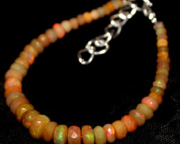 29 Crts Natural Ethiopian Welo Fire Faceted Opal Beads Bracelet 388