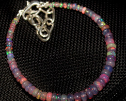 14 Crt Natural Ethiopian Welo Fire Smoked Opal Beads Bracelet 395