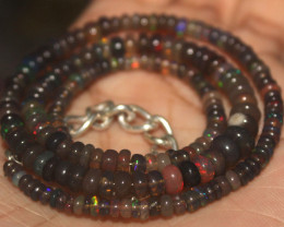 40 Crt Natural Ethiopian Welo Fire Smoked Opal Beads Necklace 88