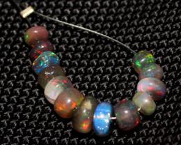 5.30 Crts Natural Ethiopian Welo Smoked Opal Beads Demi Strand 78
