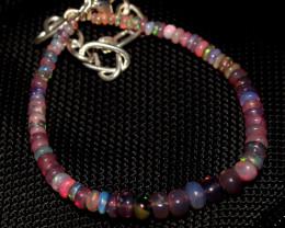 21 Crt Natural Ethiopian Welo Fire Smoked Opal Beads Bracelet 398