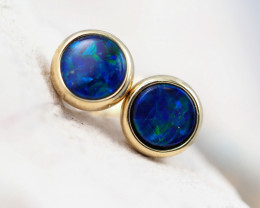 Handmade 14K Gold Doublet Opal Earrings OPJ175