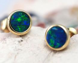 Handmade 14K Gold Doublet Opal Earrings OPJ176