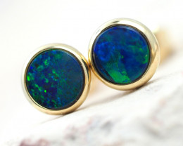 Handmade 14K Gold Doublet Opal Earrings OPJ177