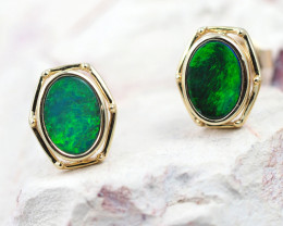 Handmade 14K Gold Doublet Opal Earrings OPJ178