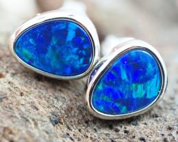 Handmade 14K Gold Doublet Opal Earrings OPJ179