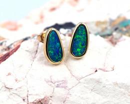 Handmade 14K Gold Doublet Opal Earrings OPJ184
