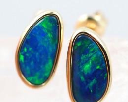 Handmade 14K Gold Doublet Opal Earrings OPJ185