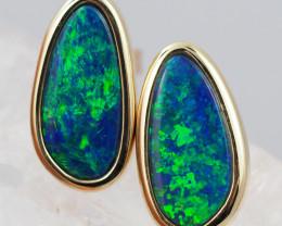 Handmade 14K Gold Doublet Opal Earrings OPJ186