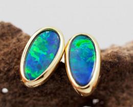 Handmade 14K Gold Doublet Opal Earrings OPJ187