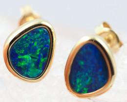 Handmade 14K Gold Doublet Opal Earrings OPJ189