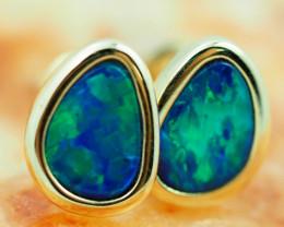Handmade 14K Gold Doublet Opal Earrings OPJ191