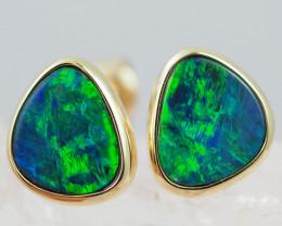 Handmade 14K Gold Doublet Opal Earrings OPJ193