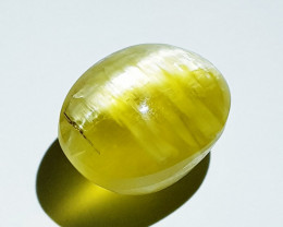 15.40 ct  Natural Pale Yellow Color Oval Cabochon Opal Cat's Eye