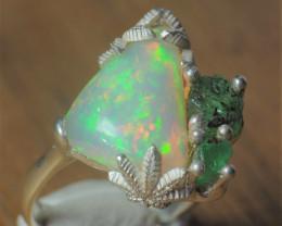 8.5sz Cannabis / Marihuana Design Shakiso  Emerald & Welo Opal Sterling