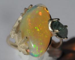 8.5sz 14k Gold Cannabis / Marihuana Design Shakiso  Emerald & Welo Opal