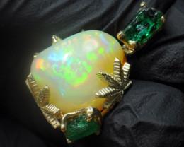 14k Gold Cannabis / Marihuana Design Shakiso  Emerald & Welo Opal  Pend