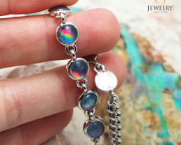 Australian 10pc Triplet Opal in Creative Strong Bracelet am874