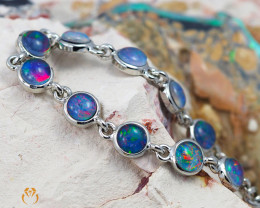 Australian 10pc Triplet Opal in Creative Strong Bracelet am876