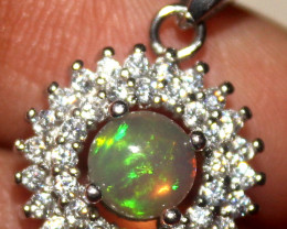 Natural Ethiopian Welo Fire Opal 925 Silver Pendant 344