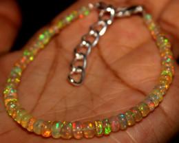 Natural Ethiopian Welo Fire Opal Beads Bracelet