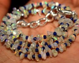 26 Crt Natural Ethiopian Welo Opal Uncut & Lapis Lazuli Necklace 27