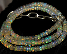 49 Crts Natural Ethiopian Welo Fire Opal Beads Necklace 906