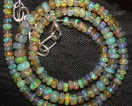 55 Crts Natural Ethiopian Welo Fire Opal Beads Necklace 927