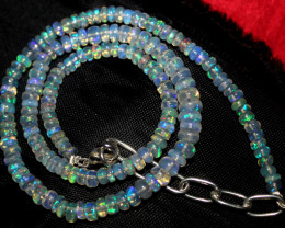 53 Crts Natural Ethiopian Welo Fire Opal Beads Necklace 935