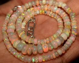 49 Crts Natural Ethiopian Welo Fire Opal Beads Necklace 975