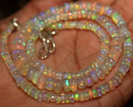 55 Crts Natural Ethiopian Welo Fire Opal Beads Necklace 1008