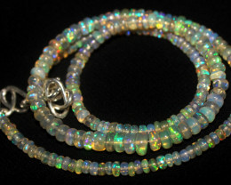32 Crts Natural Ethiopian Welo Fire Opal Beads Necklace 1029