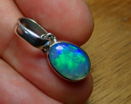 8.70ct. Sterling Silver Blazing Welo Solid Opal Pendant