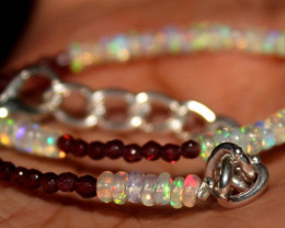 13 Crt Natural Welo Opal & Garnet Beads Thin Bracelet 318