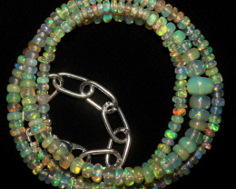 28 Crts Natural Ethiopian Welo Fire Opal Beads Necklace 1039