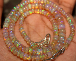 46 Crts Natural Ethiopian Welo Fire Opal Beads Necklace 1053