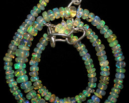 49 Crts Natural Ethiopian Welo Fire Opal Beads Necklace 1061