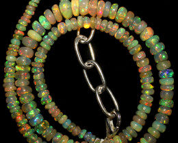 31 Crts Natural Ethiopian Welo Fire Opal Beads Necklace 1064
